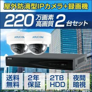 IPカメラ PoE セット 屋外防滴 カメラ2台 レコーダー 220万画素 IP インターネット ドーム 防犯カメラ 監視カメラ 暗視 遠隔監視 レコーダーセット(SET665-2)|bouhansengen