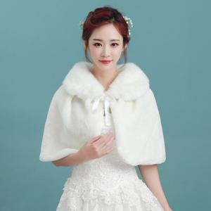 襟付きリボン ホワイトケープ 花嫁 パーティ 結婚式 ファー あったかアイテム パーティー 防寒 ふわふわ かわいい おしゃれ bouquet-de-coton