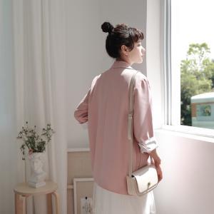 薄手ショートテーラージャケット 新作 春夏 無地 ピンク スーツ シフォン 綺麗目 7部袖 ボタン bouquet-de-coton