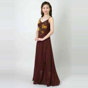 Aライン ロングドレス 結婚式 ブライダル 2次会 シフォン パーティードレス レディース|bourree