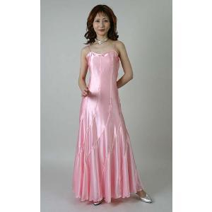 光沢サテンのロングドレス(5号)国産ピンク/演奏会用ドレス/ステージドレス レディース|bourree
