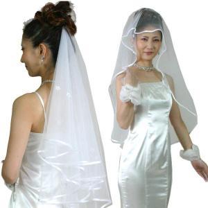 結婚式ベール ブライダルベール ウェディングベール ウエディングベール・櫛なし ショートベール:ホワイト|bourree