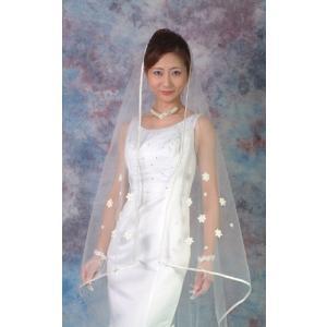 ウエディングベール ブライダルベール ヘッドドレス スクエアベール 結婚式:パイピング(オフホワイト)マリアヴェール|bourree