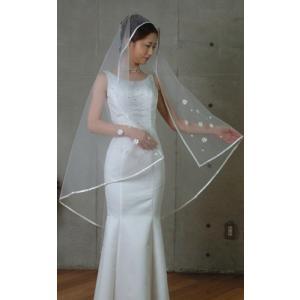 ウエディングベール ヘッドドレス スクエアベール 結婚式 ブライダルベール パイピング(白)|bourree