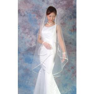 ウエディングベール ヘッドドレス スクエアベール 結婚式 ブライダルベール パイピング(オフホワイト)|bourree