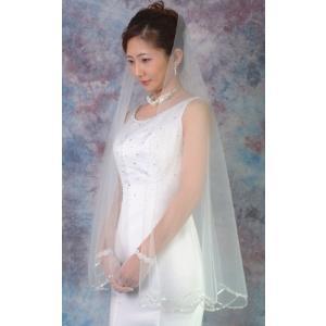 ウエディングベール ヘッドドレス スカラップベール 結婚式 ブライダルベール スパン(オフホワイト)|bourree