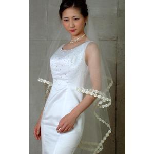 ウエディングベール ヘッドドレス マリアベール 結婚式 ブライダルベール  レース(オフホワイト)|bourree