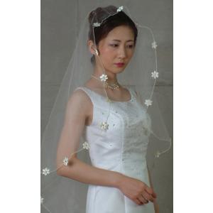 ウエディングベール ヘッドドレス マリアベール 結婚式 ブライダルベール 小花(オフホワイト)|bourree