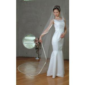 ウエディングベール ヘッドドレス マリアロングベール 結婚式 ブライダルベール レース(オフホワイト)|bourree