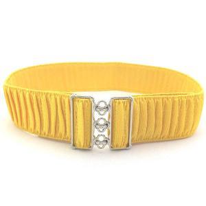 伸縮太ゴムベルト シャーリング黄色 平型シルバーバックル  長さ調節可能ベルト|bourree