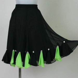 社交ダンス ダンスウエアー シフォン8枚接ぎフレアースカート 黒|bourree