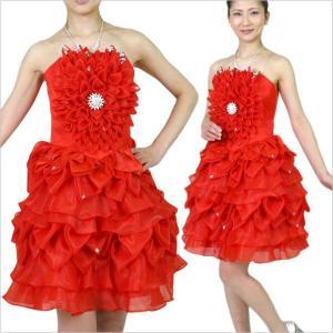 ベアトップ ダンスドレス ダンスパーティードレス 舞台衣装 コスプレに 赤 レディース|bourree