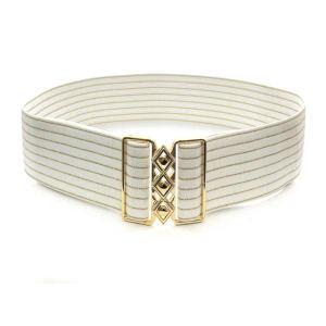 ゴムベルト 白 長さ調節可能 白地にゴールドのラメライン 平形ゴールドバックル|bourree