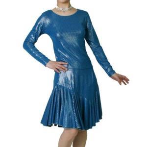 光沢伸縮ニット素材のダンス用Tシャツとスカートのセット アンサンブル ブルー|bourree