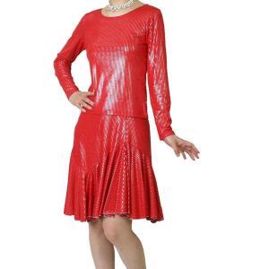 光沢伸縮ニット素材のダンス用Tシャツとスカートのセット アンサンブル 赤|bourree