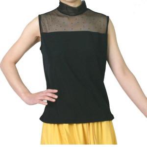 ラインストーンTシャツ L-LL トップス インナー メッシュタートルネック  ノースリーブシャツ 黒|bourree