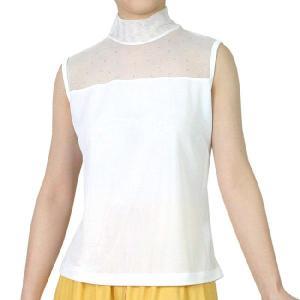 ラインストーンTシャツ トップス インナー メッシュ使いタートルネック ノースリーブシャツ 白/ホワイト 【送料無料・メール便】|bourree