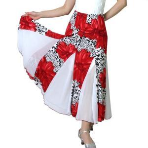 社交ダンス ロングスカート M-Lサイズ 花柄 赤|bourree