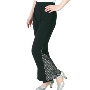 ダンスパンツ ダンスウエアー 衣装 ヨガ フィットネス きらきらスパン付き 黒|bourree