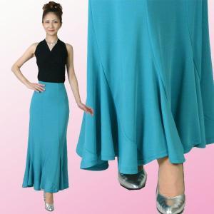 社交ダンススカート・シンプルなスマートデザイン・ターコイズグリーン|bourree