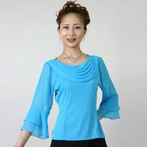 コーラスブラウス コーラス衣装 合唱衣装(9号〜15号) 水色 シフォンドレープ|bourree