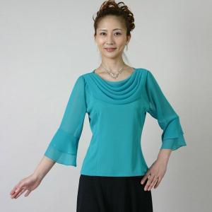 コーラスブラウス コーラス衣装 合唱衣装(9号〜15号) 緑 シフォンドレープ|bourree