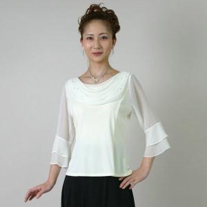コーラスブラウス コーラス衣装 合唱衣装(9号〜15号)オフホワイト/シフォンドレープ|bourree