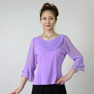 コーラスブラウス コーラス衣装 合唱衣装(9号〜15号) 紫 シフォンドレープ|bourree