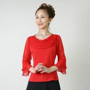 コーラスブラウス コーラス衣装 合唱衣装(9号〜15号) 赤 シフォンドレープブラウス|bourree