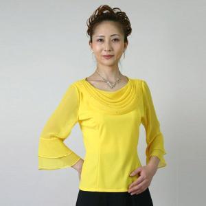コーラスブラウス コーラス衣装 合唱衣装(9号〜15号) 黄色 シフォンドレープブラウス|bourree