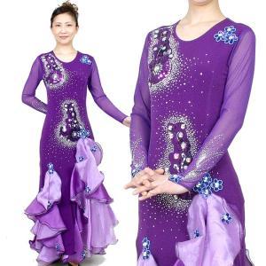ロングドレス カラオケドレス ダンス衣装 舞台衣装 紫色 パープル|bourree