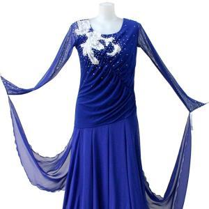 ダンス衣装 カラオケ衣装 スパンコールドレス ネイビー(紺色)|bourree