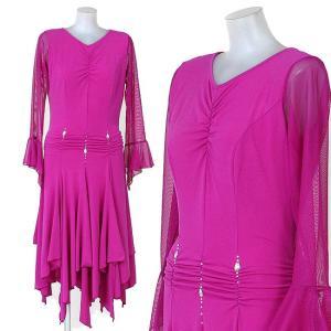 ダンス衣装 アシンメトリーダンスウエアー 舞台衣装 赤紫色|bourree
