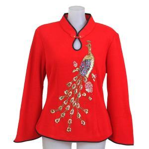 チャイナブラウス 赤 鳳凰ゴールド柄 スパンコール・ビーズ刺繍 舞台衣装に Mサイズ|bourree