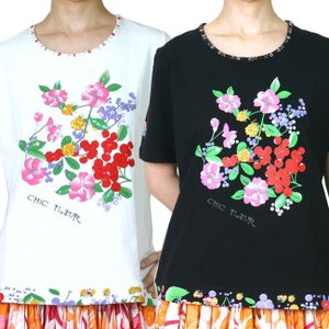 Tシャツ 花柄プリントの可愛いコットン素材のシャツ 白と黒|bourree