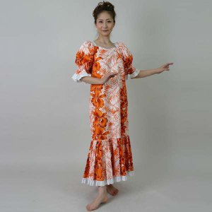 フラダンスドレス ムームー/ハワイアン/オレンジ|bourree