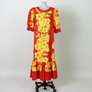 フラダンスドレス ムームー/ハワイアン/赤|bourree