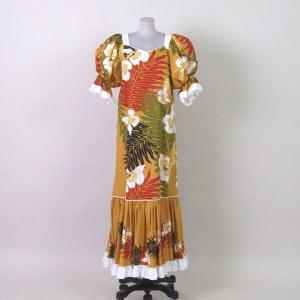 フラダンスドレス/ハワイアン ムームー/カラー:山吹花柄/M-Lサイズ|bourree