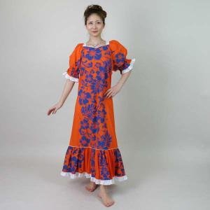 フラダンス衣装 ハワイアン ムームー ワンピース ダンスドレス リゾート衣装 オレンジに青の花柄|bourree