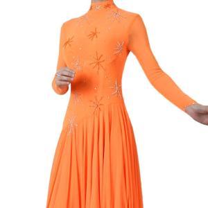 わけあり ダンス衣装 長袖ダンスドレス オレンジ色 Lサイズ|bourree