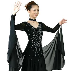 わけあり 社交ダンス衣装 モダンドレス ウイング付き 黒 Sサイズ|bourree