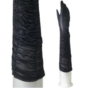フォーマル手袋 トリコットタイプ シャーリング パーティーグローブ ミディアム丈 黒|bourree