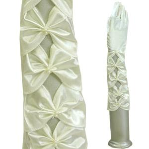 サテン手袋/ウエディンググローブ 手袋/結婚式 ブライダル グローブ 手袋/オフホワイト/ひし形シャーリング|bourree