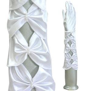 サテン手袋 ウエディンググローブ サテングローブ フォーマル手袋   白 ひし形シャーリング|bourree