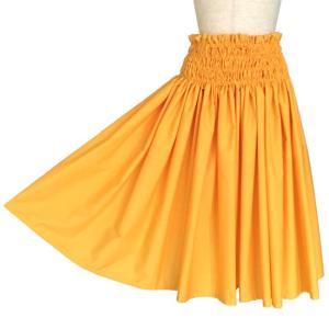 シングルパウスカート 日本製 フラダンス衣装 ハワイアン 黄色 無地|bourree