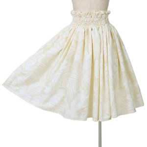 シングルパウスカート 4段ゴム入り フラダンス衣装 モンステラ ハイビスカス クリーム色 日本製|bourree