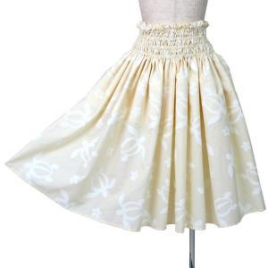 シングル パウスカート 4段ゴム入り フラダンス衣装 ホヌ(海がめ)プルメリア クリーム色 日本製|bourree