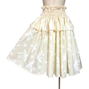フリル パウスカート 4段ゴム入り フラダンス衣装 ホヌ(海がめ)プルメリア クリーム色 日本製|bourree