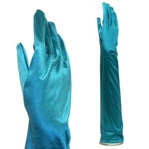 サテン手袋 パーティーグローブ レディース ハロウィン ロング丈 ピーコックブルー(青緑)|bourree