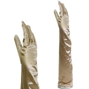 サテン手袋 グローブ ロング丈 シャンパンゴールド|bourree